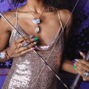 Celestite x Aqua Aura x Quartz Goddess Bracelet