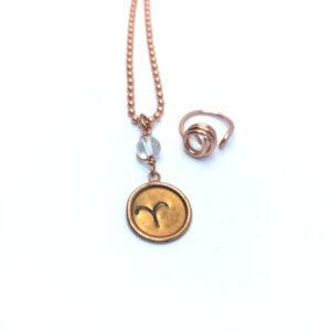 Aries•Child• Birthstone Ring & Necklace set - Carnelian