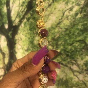 Brass Royalty Wand- Purple Jasper