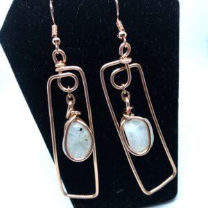 Moonstone Rectangle Earrings
