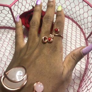 Lil Heart Puff- Coral + Rose Quartz