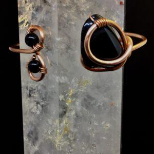 Infinity Trinity Bracelet- Obsidian