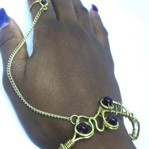 Garnet brass Goddess bracelet
