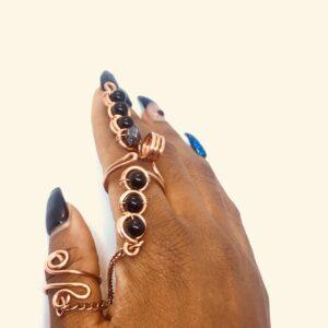 Obsidian-Chakra Puff ring