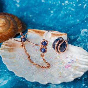 Infinity Trinity Goddess bracelet-Sodalite